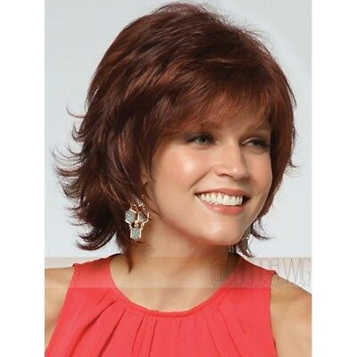 Lexy wig Noriko Rene of Paris - red layered flicked choppy wig with full fringe