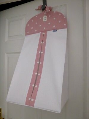 Baby Nappy Stacker - Pink Dotty Trim - 100% Cotton - Baby Shower Gift -BNWT
