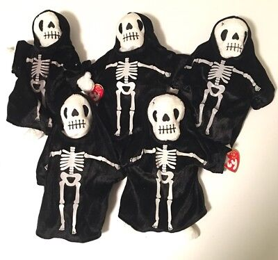 Creepers Skeleton Beanie Babies Lot Of 5 NWT Halloween Party Favors Gifts NEW