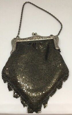 Vtg Silver Mesh Chainmail Metal Purse Disco Evening Bag Women Clutch Xmas Gift