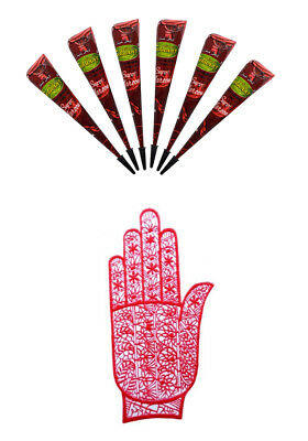 Special Gift Pack for Christmas, Super Maroon Henna Mehand with Rubber Stencil