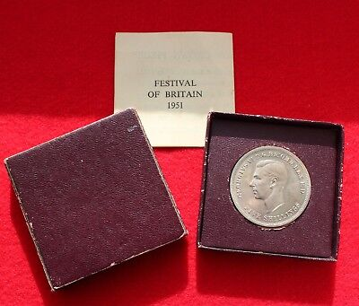 1951 Festival of Britain 5 Shillings old Crown King George VI Coin boxed &C.O.A