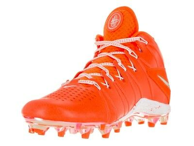 Mens NIKE HUARACHE 4 LAX LE Lacrosse Football Cleats 624978 801 ORANGE WHITE 13