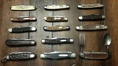 Lot of 14 Vintage Pocket Knives**BUCK Imperial Sabre Towlka Kabar Camillus ETC..