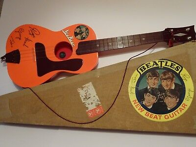 "Rare Vintage Plastic ""Selcol"" ""BEATLES"" toy ""New Beat"" Guitar. ""Exc. plus"" + Box"