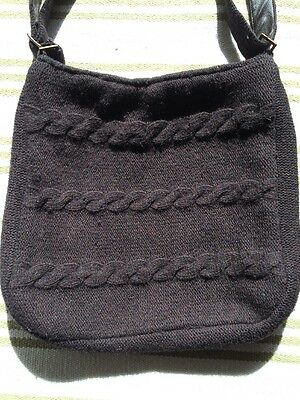 Laura Ashley AUTUMN WINTER Knitted Black Wool / Angora Bag shoulder / Cross Body