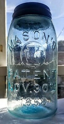 MASON'S PATENT (w/KEYSTONE IN CIRCLE) NOV. 30th 1858 FRUIT JAR HEAVY WHITTLE QT