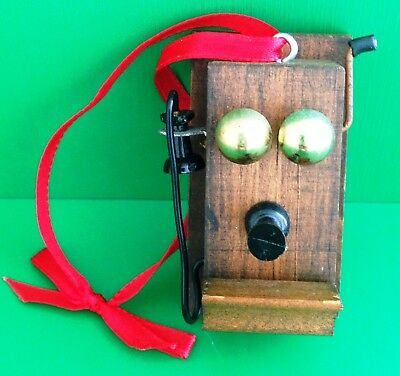 Old Fashioned Wooden Telephone Christmas Ornament, Hand Crafted (Canada)