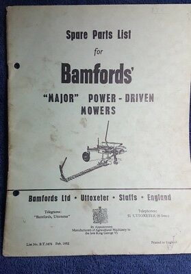 Bamfords Major power driven grass mowers spare parts list tractor