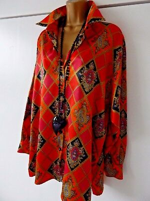 "Stunning Jaeger Vintage Blouse Tunic Top Harlequin Pattern With Sheen 38"" 14 16"