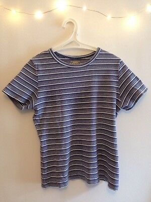 Vintage Blue And White Striped T Shirt Size S