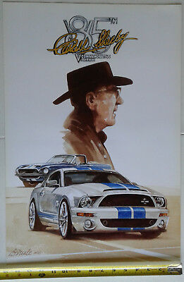 Carroll Shelby 85th Birthday Poster featuring the 1968 and 2008 Shelby GT500KRs