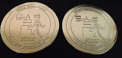 Stelco Hilton Works Coasters (2) Commemorative of 1st Slab. Aug 25, 1987 MIB