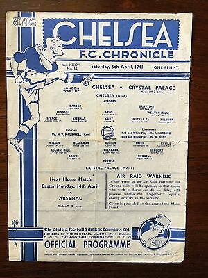 1940/41 Chelsea v Crystal Palace. London War Cup. Official Programme