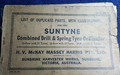 H V McKay Massey Hassis PTY combined drill & spring tyne cultivator parts list