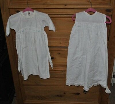 Vintage Baby Gowns White Simple - Cotton 0-3months low start excellent condition