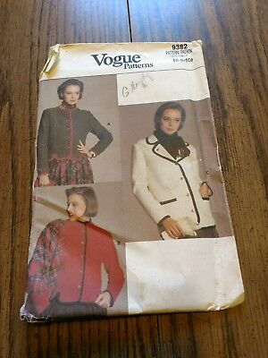 Vogue 9382 sz 6-8-10 jacket 1985