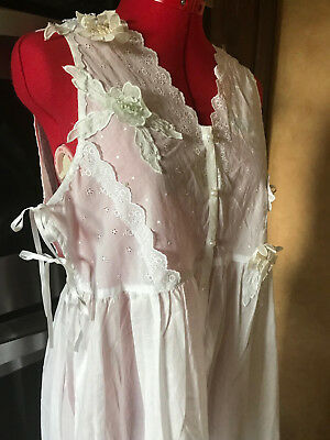 Vintage Victorias Secret White Cotton & Lace Nightgown Nightie Night Dress Large