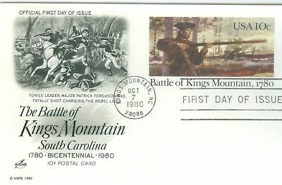 1c Gems US #UX85 Battle of King's Mountain Artcraft FDC postcard