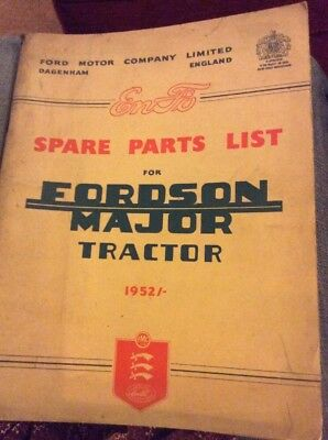 Fordson Major Tractor 1952 Spare Parts List