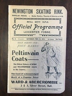 1911/12 Hull City v Leicester Fosse (City) Div 2 Official Programme.