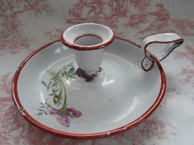 Antique French Enamel Chamberstick / Candlestick