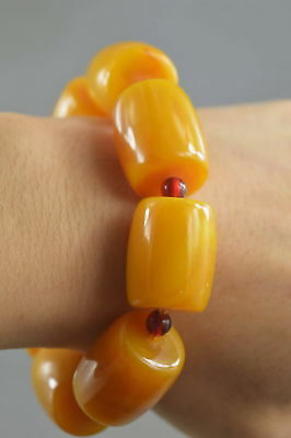 Collectable Handwork Amber Carve Gloosy Bead Moral Royal Family Lucky Bracelet