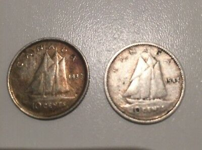 Canadian 10 Cent Silver Coin X 2 *RARE*