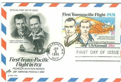 1c Gems US #UXC19 Trans Pacific Flight Artcraft Unaddressed FDC