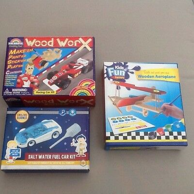 New, Unopened Bundle - 2 x Wood Craft, 1 x Science Kits For Kids