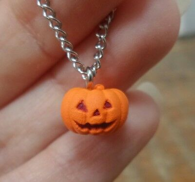 "Pumpkin pendant necklace to fit 12"" Blythe or similar 1:6 scale doll Halloween"