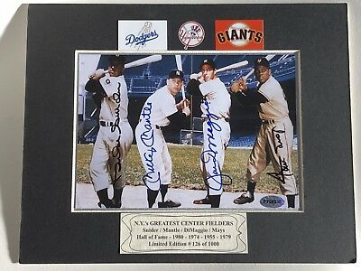 Mantle / DiMaggio /Snider/Mays  Autographed 5x7 Photo In A 8x10 Matt ..Certified