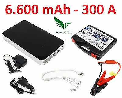 Falcon EMERGENCY JUMP STARTER 6.600mAh 300A BOOSTER CHARGER POWER BANK USB LED