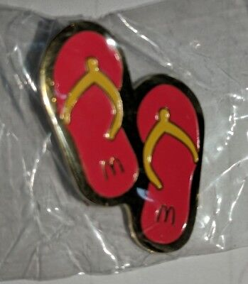 Vintage McDonald's Promotional Pinback Pin Button Sandals New in plastic