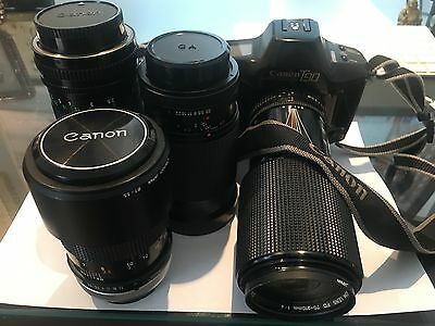 Canon T90 SLR 35mm Professional Camera  + 4 Quality Lenses and Strap Immaculate