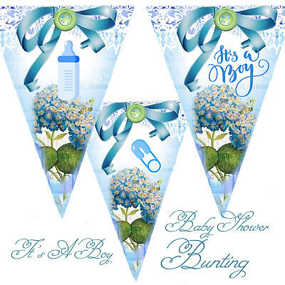 Bunting Blue It's A Boy Baby Shower Party Garland Decoration Mum To Be keepsake