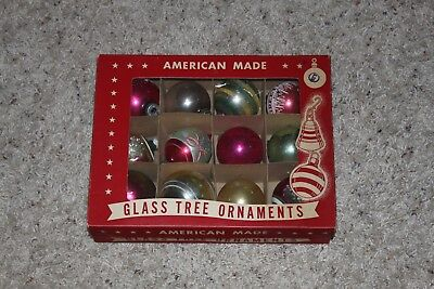 12 Vintage Christmas Tree Ornaments Glass American Made in original box