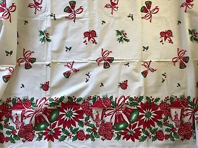 Vintage Antique Cotton Fabric Christmas Holiday Print Border Bells Holly Lantern
