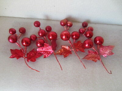 Lot  Of Vintage Christmas Mercury Glass Red Spray Ornament Decoration