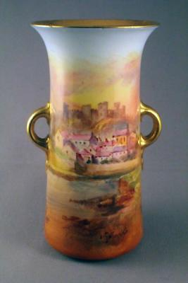 Hand Painted Royal Doulton J. Hughes Haverfordwest Twin Handled Vase - Perfect