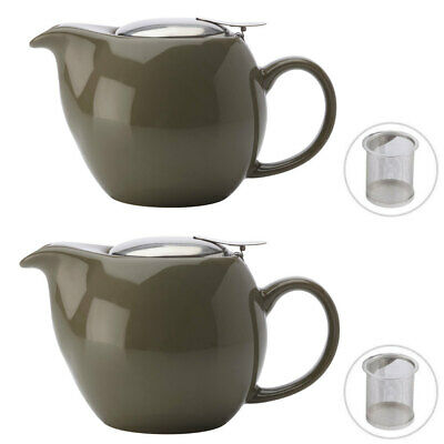 2x Maxwell & Williams Green 500ML Cafe Culture Porcelain Teapot/Strainer Infuser