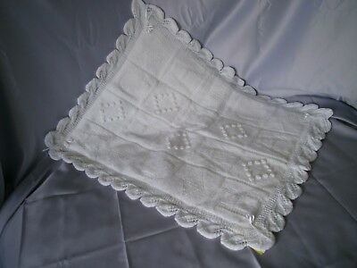 "Babies White Quilted Crib/pram Cover With A B C Design 30 X 23""."