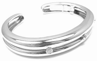 Authentic! Andrew Clunn 18k White Gold Diamond Cuff Bracelet