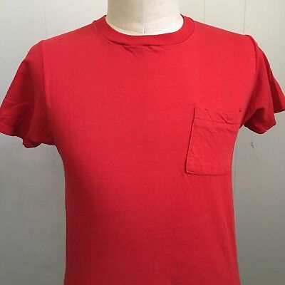 Vintage 70S Fruit Of The Loom Square Pocket Red T Shirt Medium M Usa