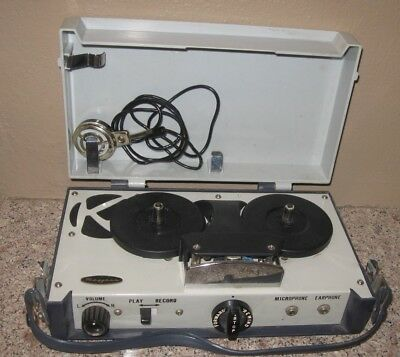 Vintage Portable Mayfair Reel To Reel Tape Recorder- With Microphone- Working