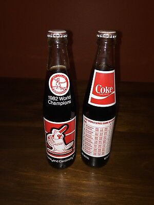 Lot of 2 1982 St. Louis Cardinals World Series Coca Cola Bottles - 10 oz NICE!!!