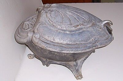 Vintage Antique French Victorian Cast Iron Clam Shell Coal Scuttle Turtle Shape