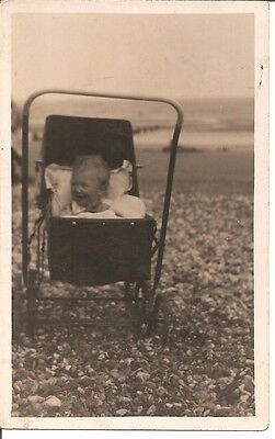 VINTAGE REAL PHOTO POST CARD Baby in a pram