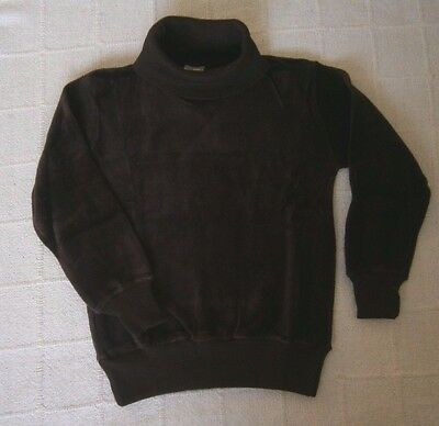 "Vintage Stretch Velour Polo-Neck Sweater - Age 15-16 - 32"" Chest - Brown - New"