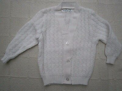Vintage Baby Cardigan- Age 6-12months - White - V-Neck -  Patterned- New